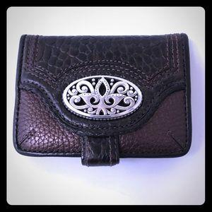 Brighton Brown Pebbled Leather Snap Wallet EUC
